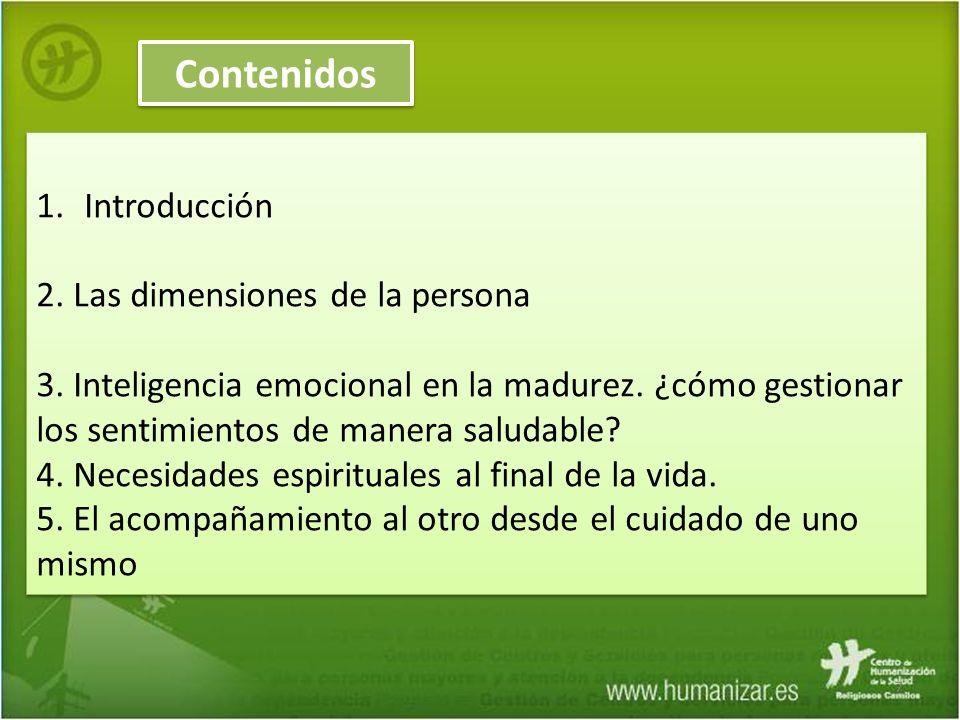 Contenidos Introducción 2. Las dimensiones de la persona