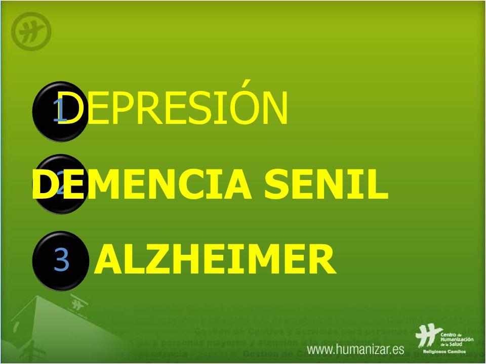1 DEPRESIÓN 2 DEMENCIA SENIL ALZHEIMER 3