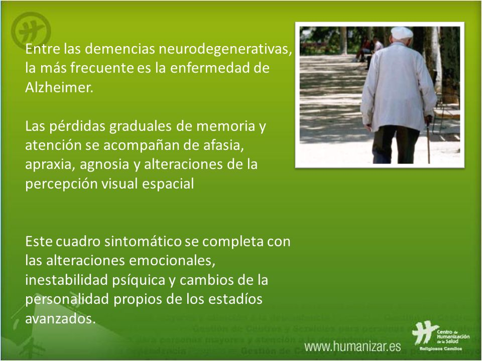Entre las demencias neurodegenerativas, la más frecuente es la enfermedad de Alzheimer.