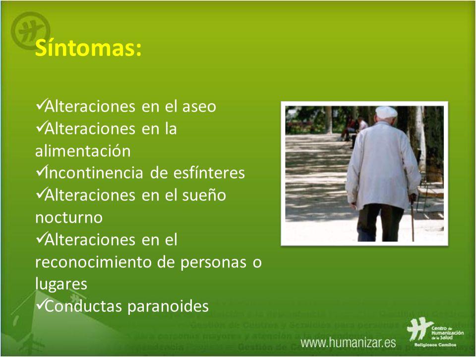 Síntomas: Alteraciones en el aseo Alteraciones en la alimentación
