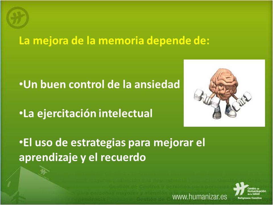 La mejora de la memoria depende de: