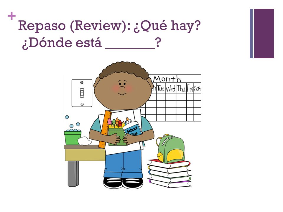 Repaso (Review): ¿Qué hay ¿Dónde está _______