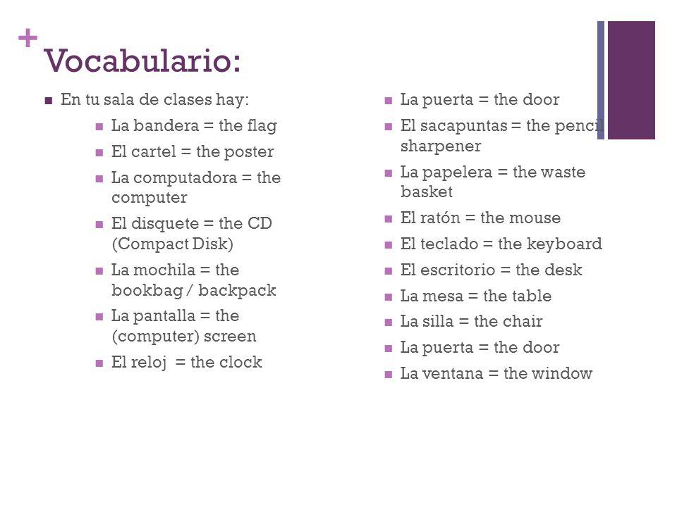 Vocabulario: En tu sala de clases hay: La bandera = the flag