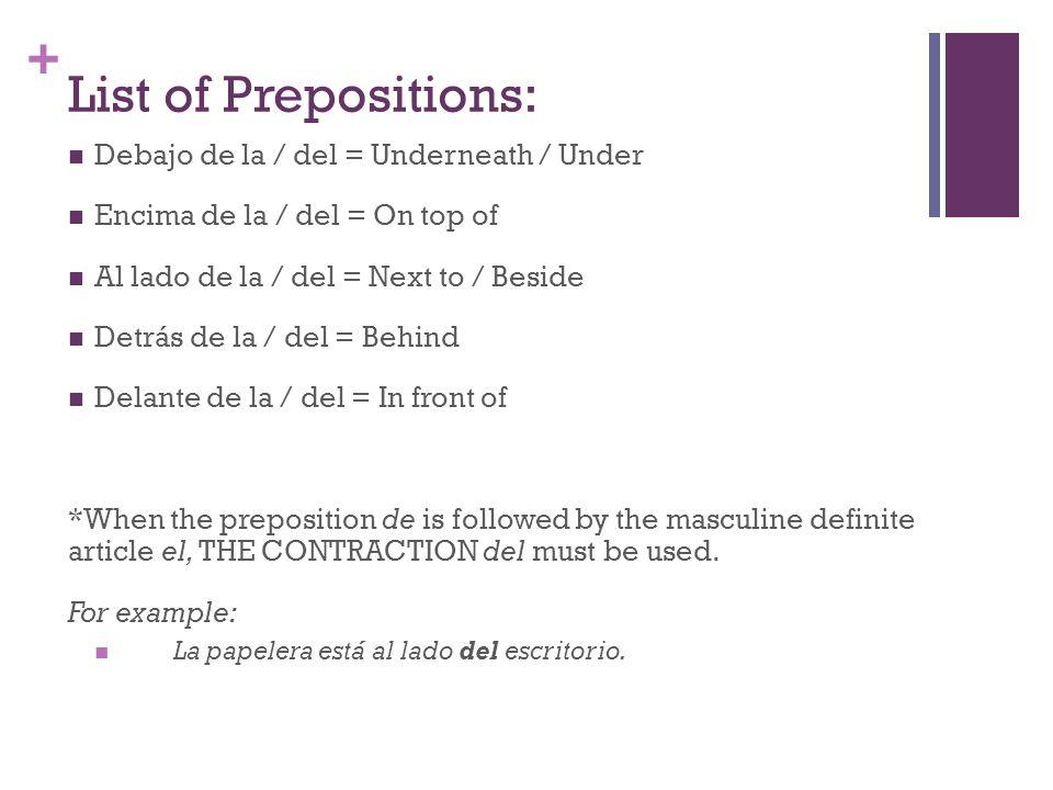 List of Prepositions: Debajo de la / del = Underneath / Under