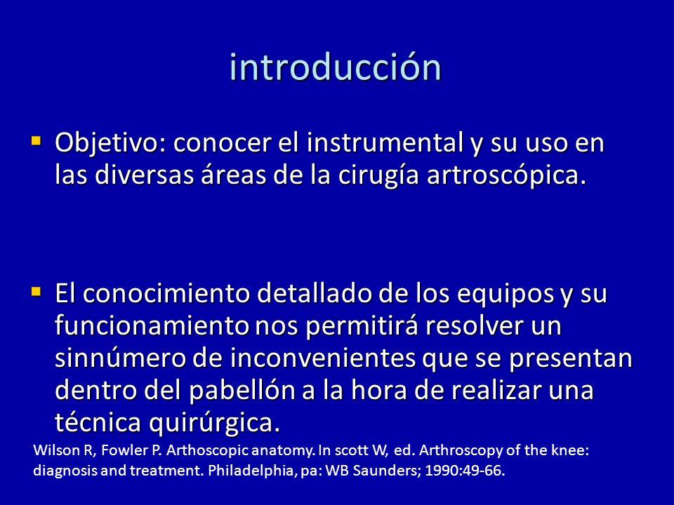 introducción Objetivo: conocer el instrumental y su uso en las diversas áreas de la cirugía artroscópica.