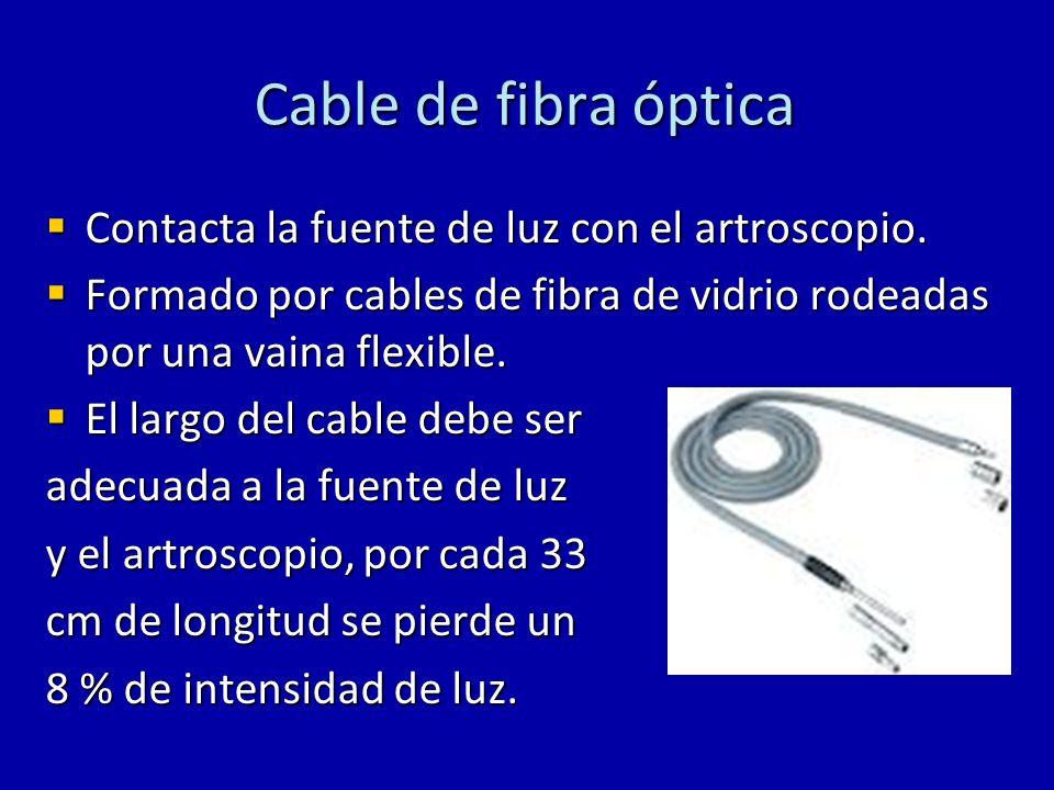 Cable de fibra óptica Contacta la fuente de luz con el artroscopio.