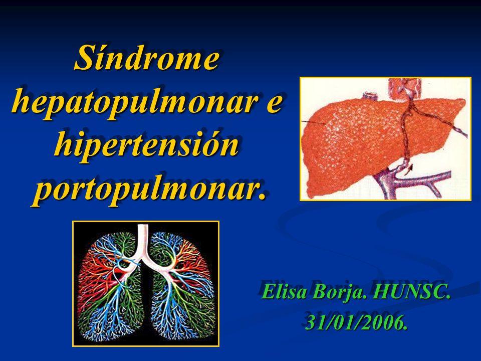 Síndrome hepatopulmonar e hipertensión portopulmonar.