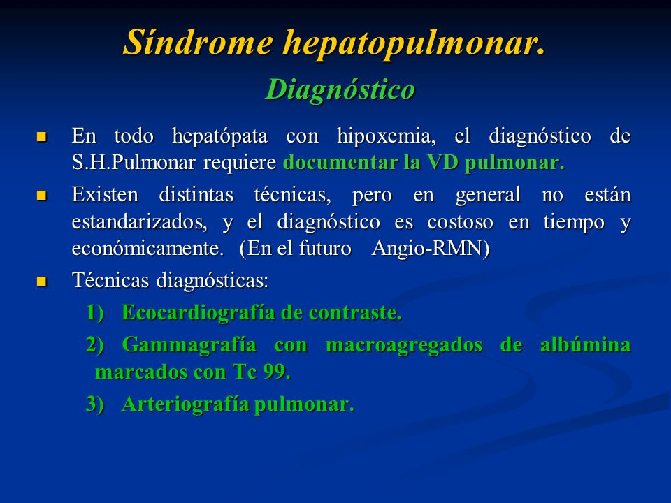 Síndrome hepatopulmonar. Diagnóstico