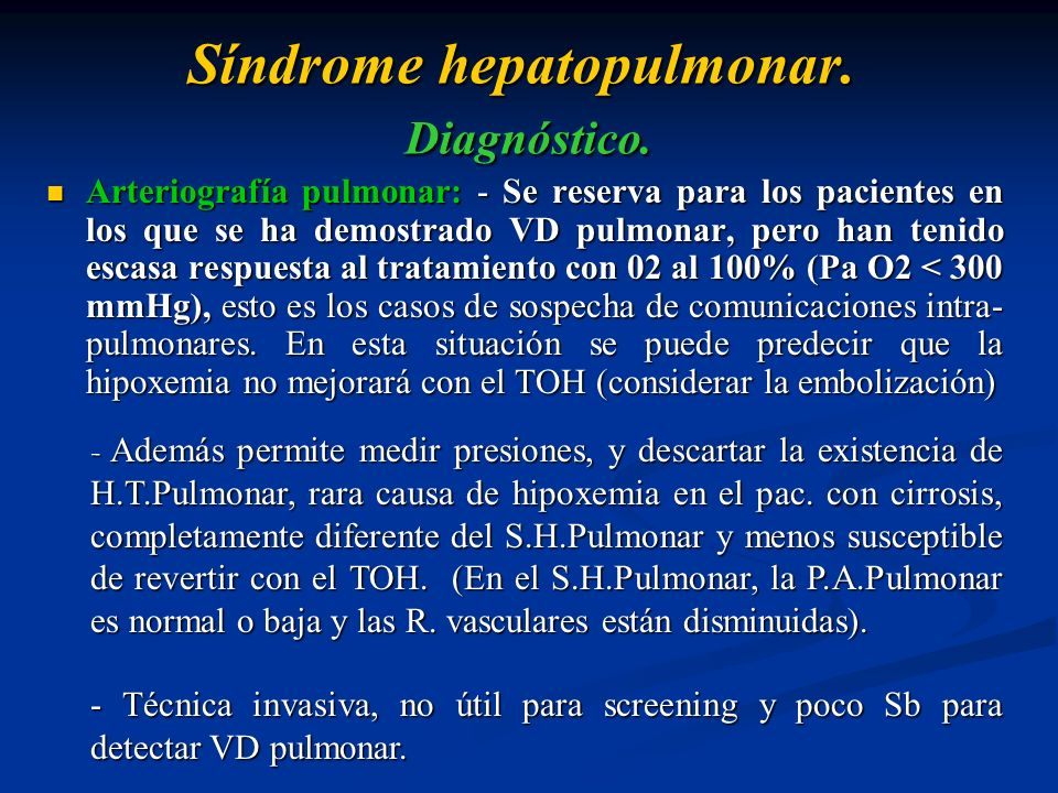 Síndrome hepatopulmonar. Diagnóstico.