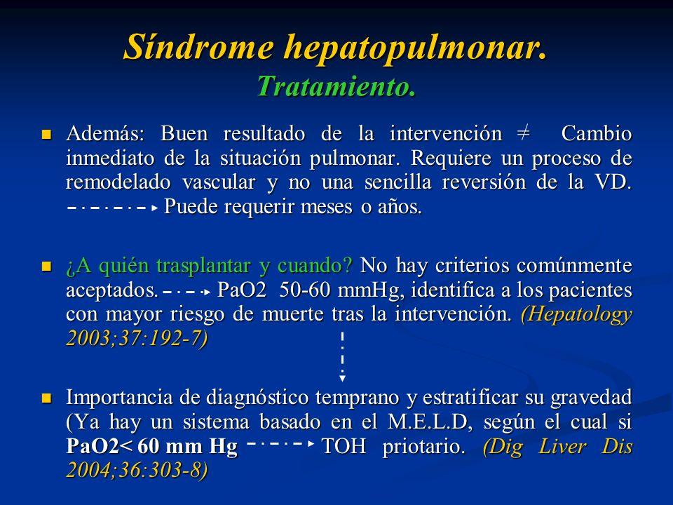 Síndrome hepatopulmonar. Tratamiento.