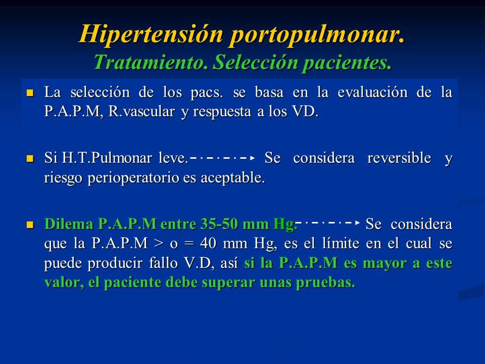 Hipertensión portopulmonar. Tratamiento. Selección pacientes.
