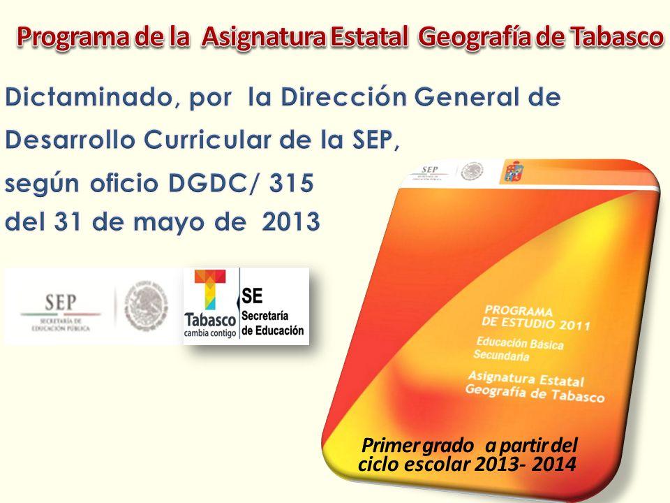 Programa de la Asignatura Estatal Geografía de Tabasco