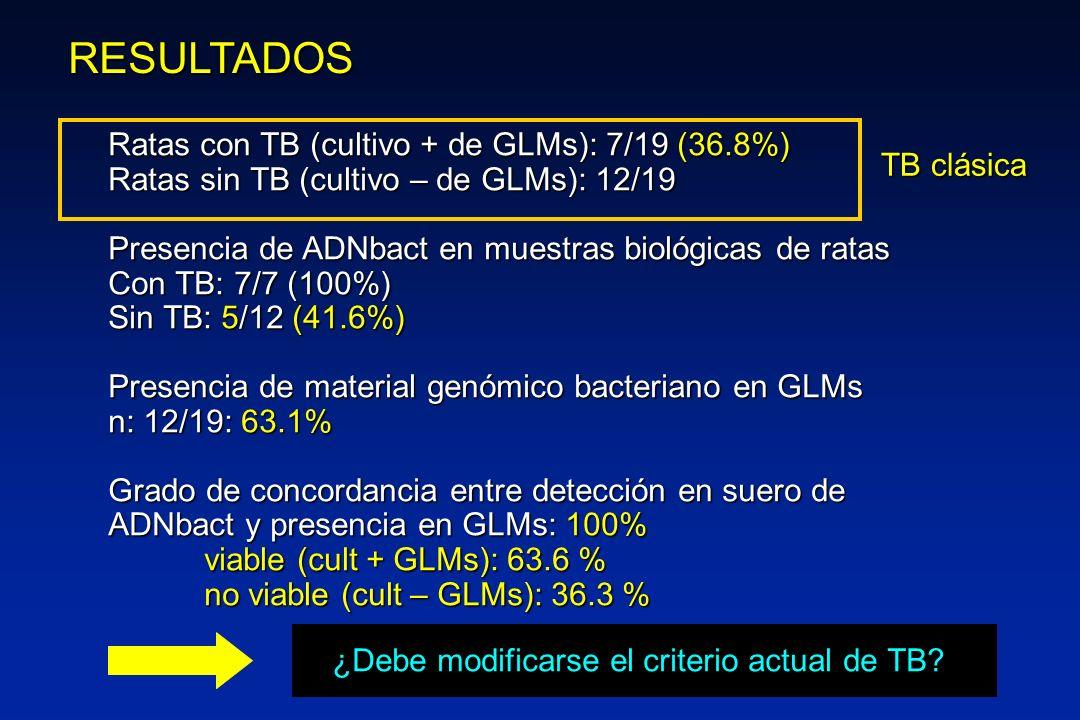 RESULTADOS Ratas con TB (cultivo + de GLMs): 7/19 (36.8%)