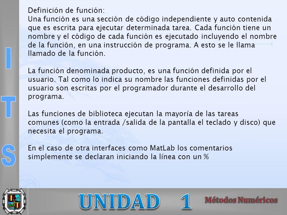 Definición de función: