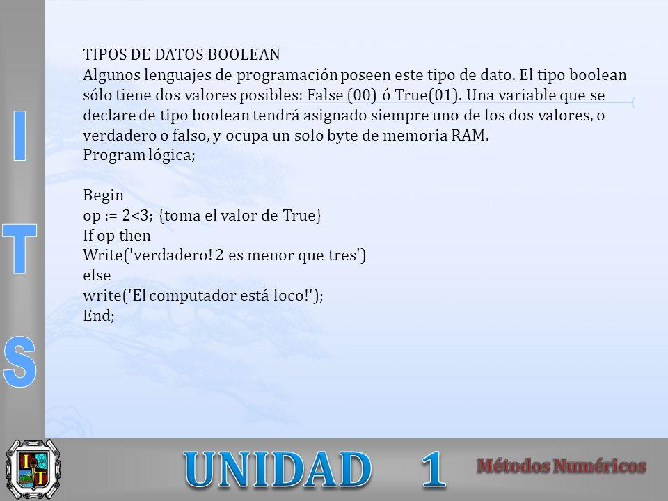 TIPOS DE DATOS BOOLEAN