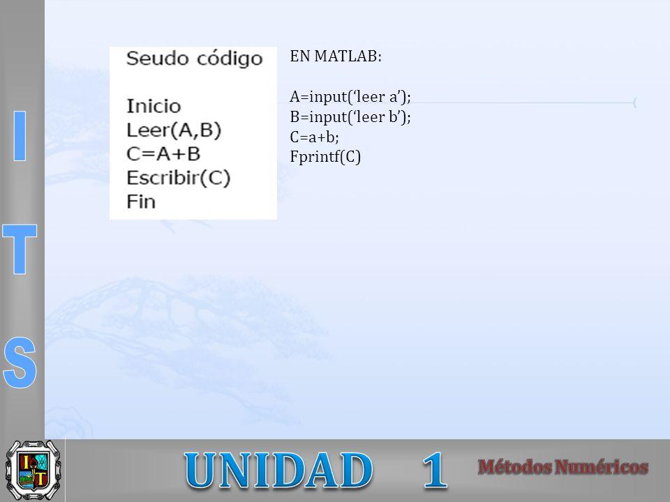 EN MATLAB: A=input('leer a'); B=input('leer b'); C=a+b; Fprintf(C)