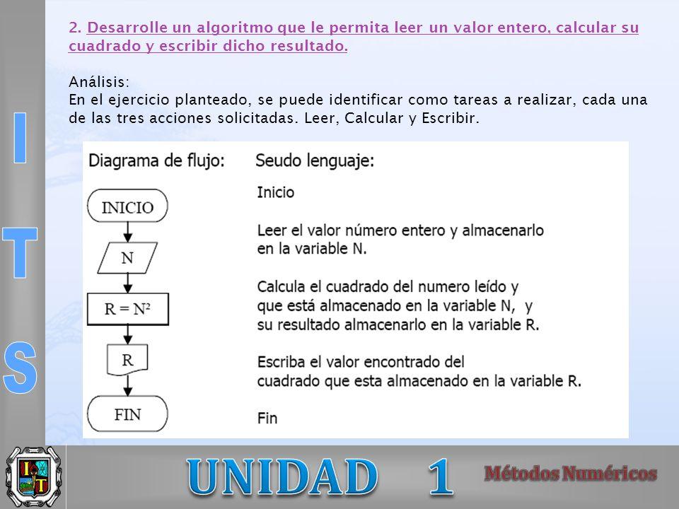 2. Desarrolle un algoritmo que le permita leer un valor entero, calcular su
