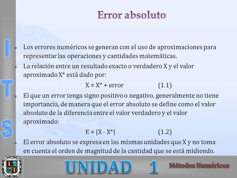 Error absoluto Los errores numéricos se generan con el uso de aproximaciones para representar las operaciones y cantidades matemáticas.