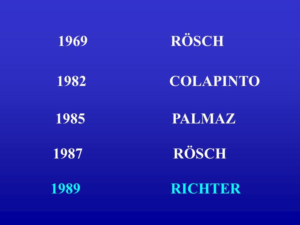 1969 RÖSCH 1982 COLAPINTO. 1985 PALMAZ.