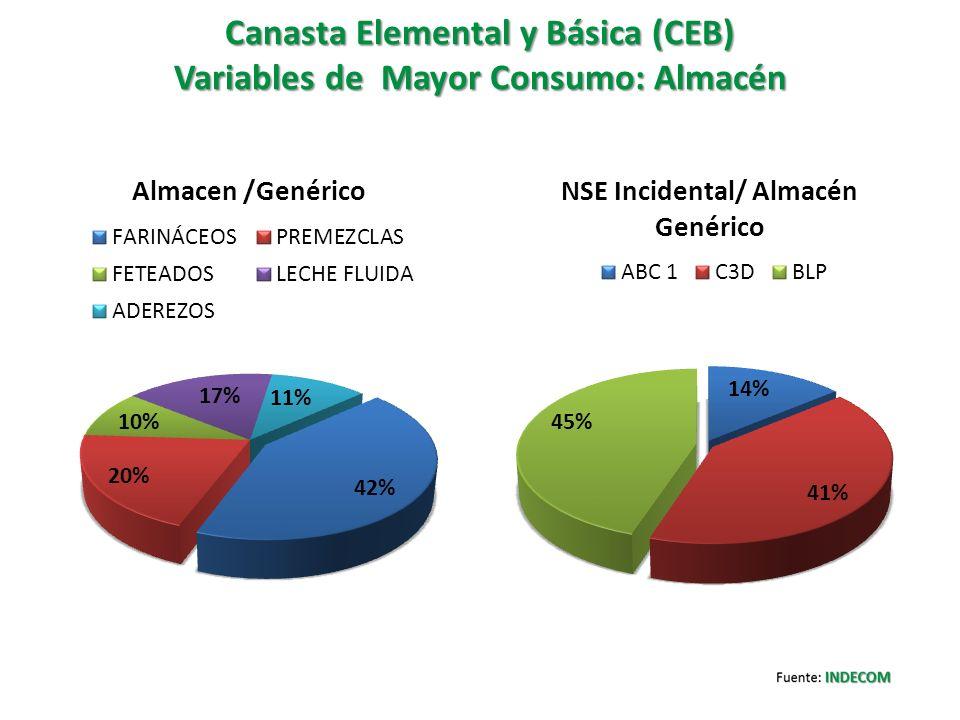 Canasta Elemental y Básica (CEB) Variables de Mayor Consumo: Almacén