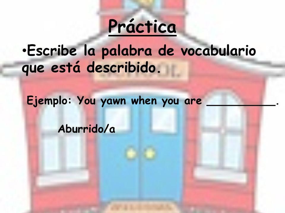 Práctica Escribe la palabra de vocabulario que está describido.