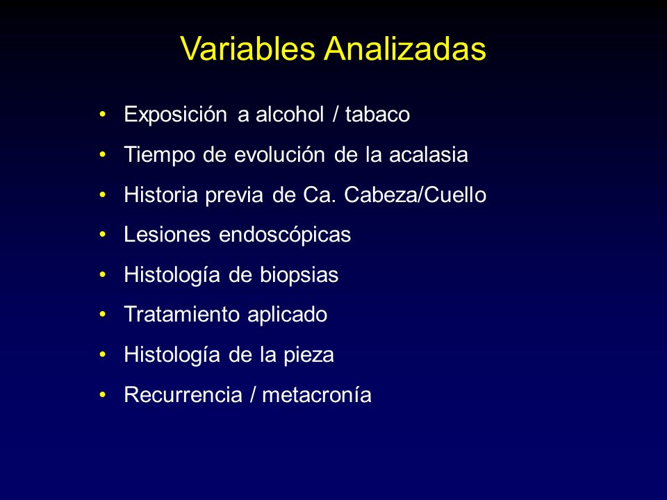 Variables Analizadas Exposición a alcohol / tabaco