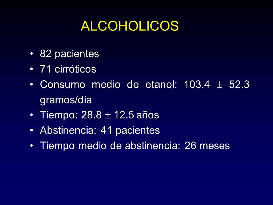 ALCOHOLICOS 82 pacientes 71 cirróticos