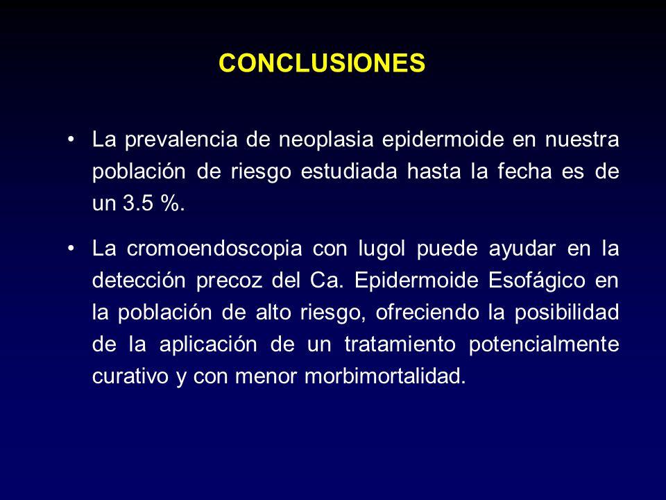CONCLUSIONESLa prevalencia de neoplasia epidermoide en nuestra población de riesgo estudiada hasta la fecha es de un 3.5 %.