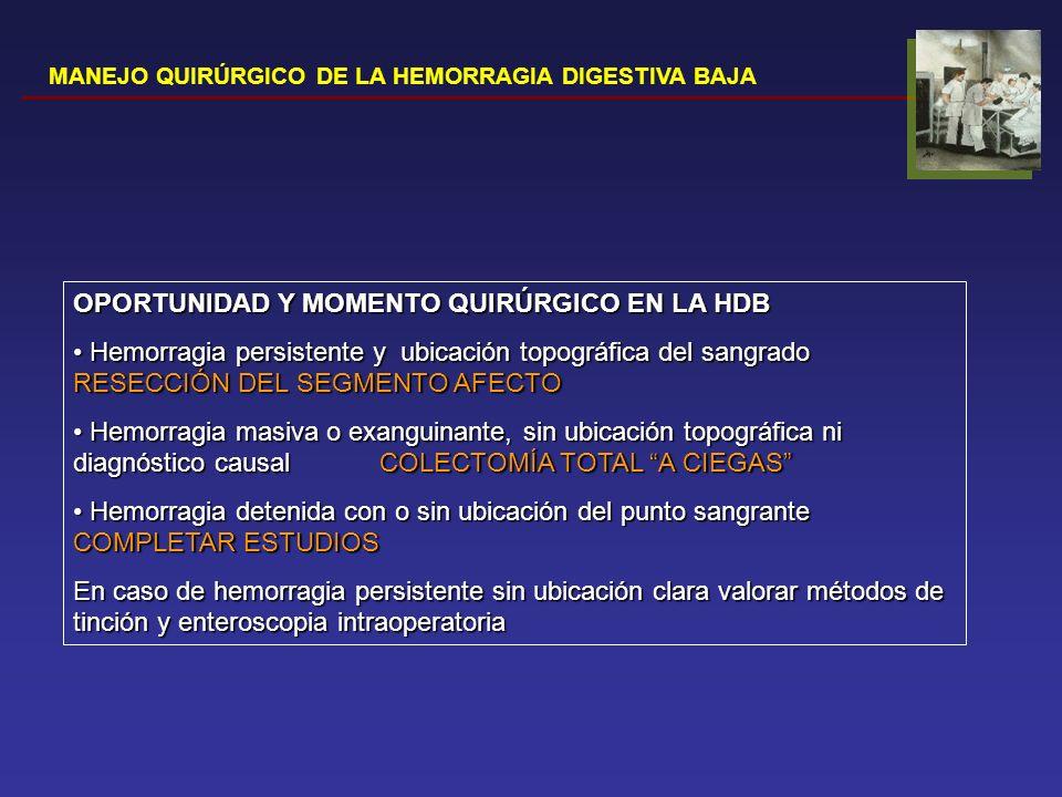 OPORTUNIDAD Y MOMENTO QUIRÚRGICO EN LA HDB