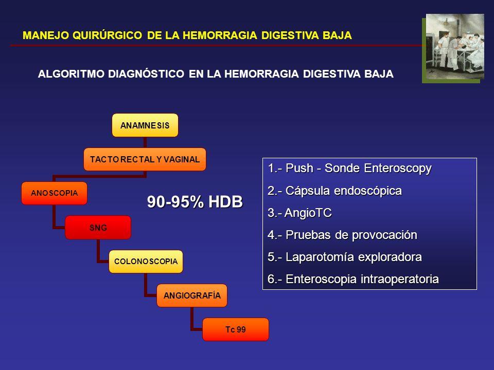 90-95% HDB 1.- Push - Sonde Enteroscopy 2.- Cápsula endoscópica