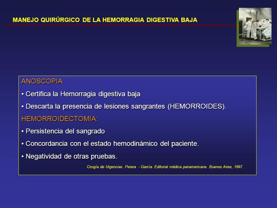 Certifica la Hemorragia digestiva baja