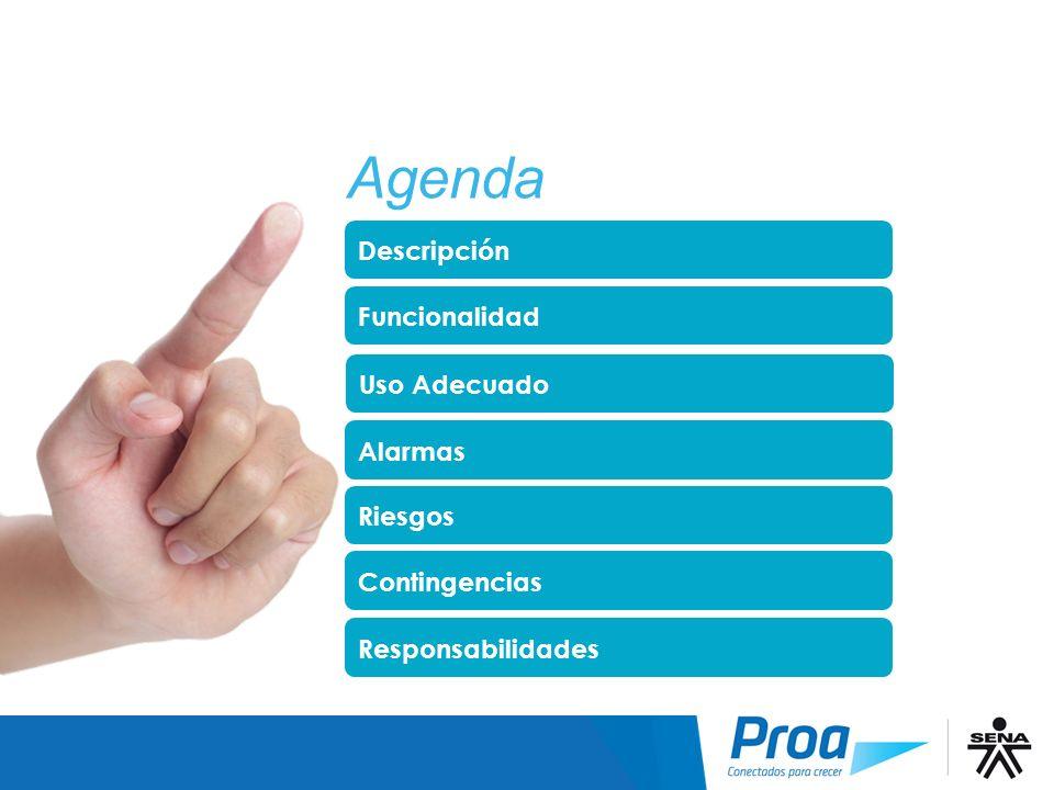 Agenda Agenda Descripción Funcionalidad Uso Adecuado Alarmas Riesgos