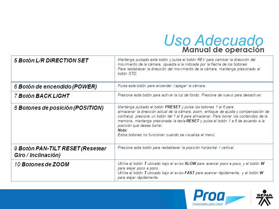 Uso Adecuado: Manual de Operación II