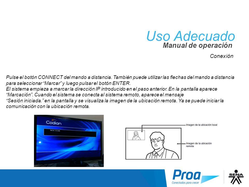 Uso Adecuado Conexión IV Manual de operación Conexión
