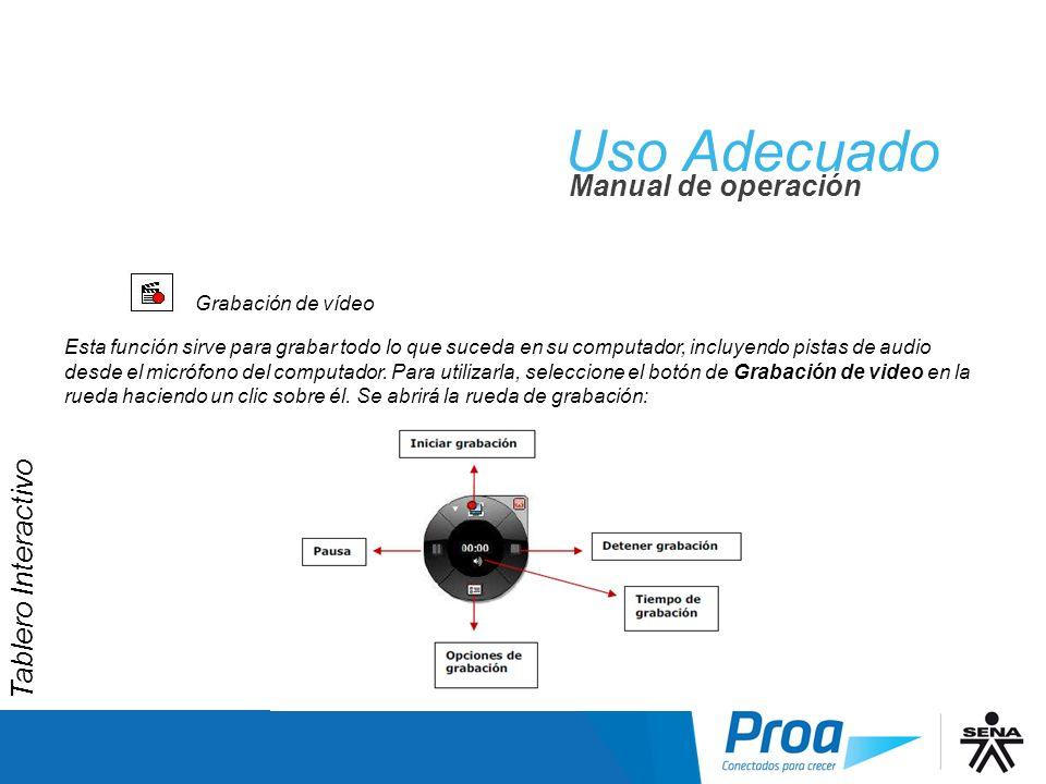 Uso Adecuado UA: Grabación de Vídeo Manual de operación