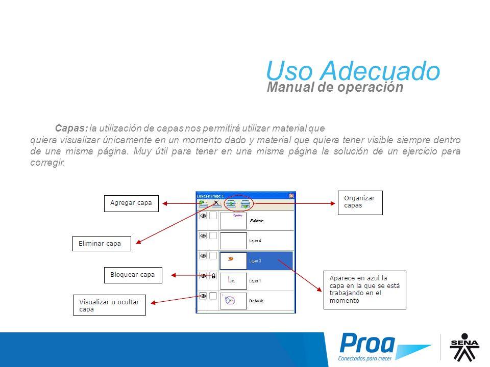 Uso Adecuado UA: Scrapbook, Capas Manual de operación