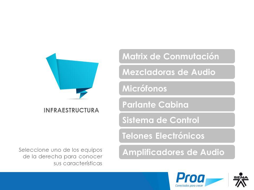 Infraestructura Matrix de Conmutación Mezcladoras de Audio Micrófonos