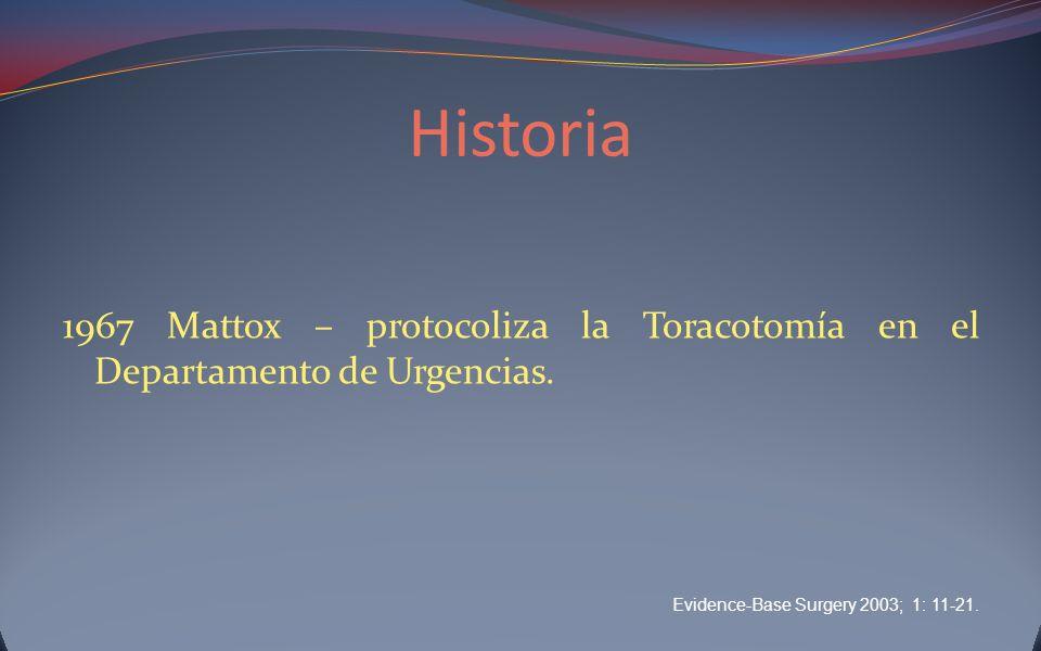 Historia 1967 Mattox – protocoliza la Toracotomía en el Departamento de Urgencias.