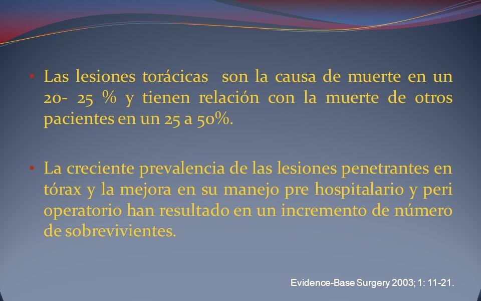 Las lesiones torácicas son la causa de muerte en un 20- 25 % y tienen relación con la muerte de otros pacientes en un 25 a 50%.