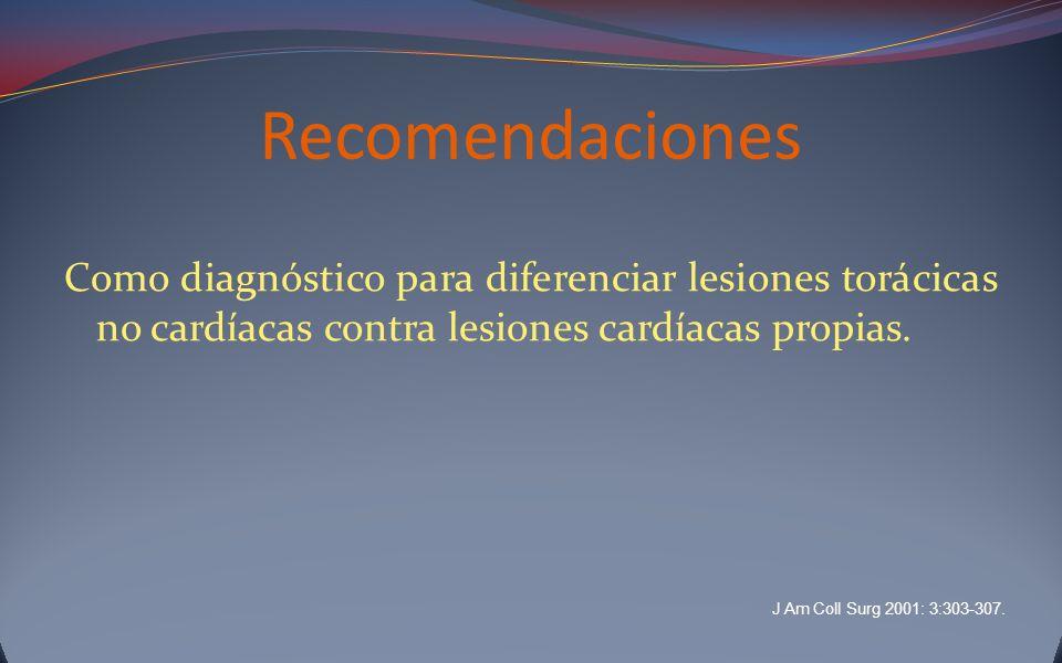 Recomendaciones Como diagnóstico para diferenciar lesiones torácicas no cardíacas contra lesiones cardíacas propias.