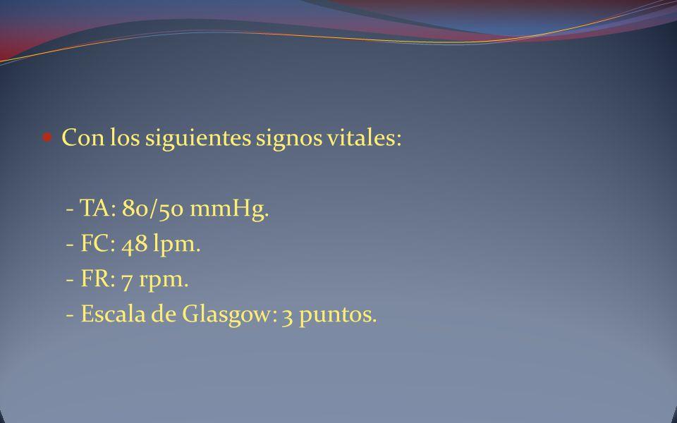 Con los siguientes signos vitales: