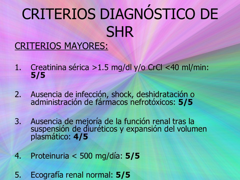 CRITERIOS DIAGNÓSTICO DE SHR