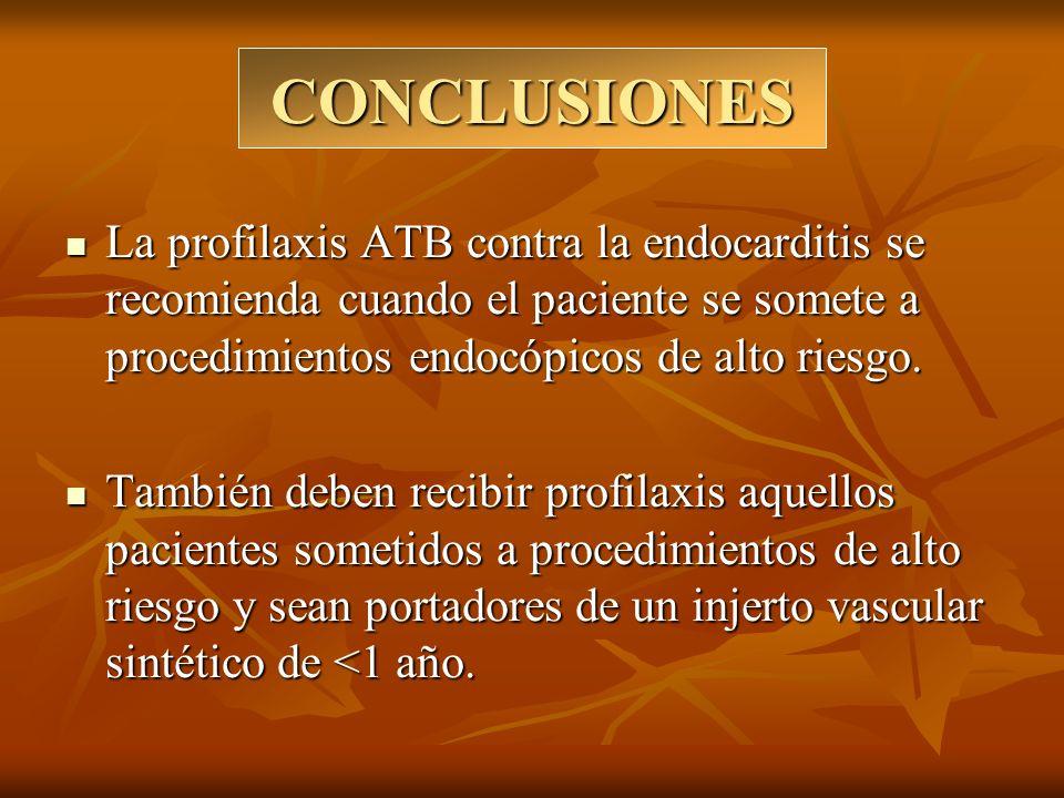 CONCLUSIONES La profilaxis ATB contra la endocarditis se recomienda cuando el paciente se somete a procedimientos endocópicos de alto riesgo.