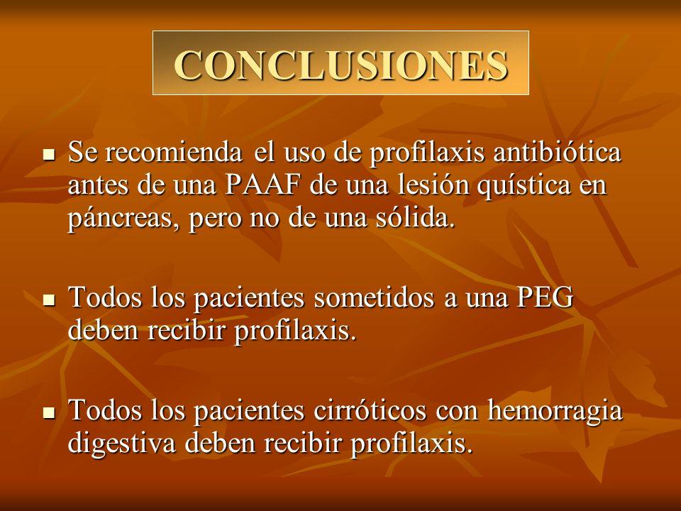 CONCLUSIONES Se recomienda el uso de profilaxis antibiótica antes de una PAAF de una lesión quística en páncreas, pero no de una sólida.