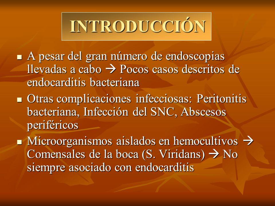 INTRODUCCIÓN A pesar del gran número de endoscopias llevadas a cabo  Pocos casos descritos de endocarditis bacteriana.