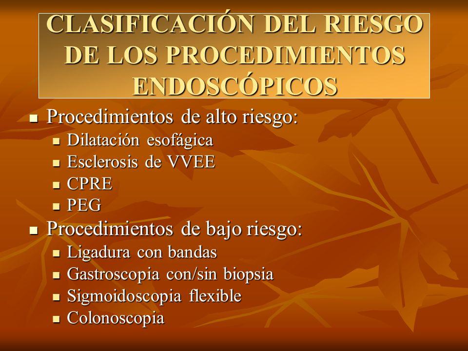 CLASIFICACIÓN DEL RIESGO DE LOS PROCEDIMIENTOS ENDOSCÓPICOS