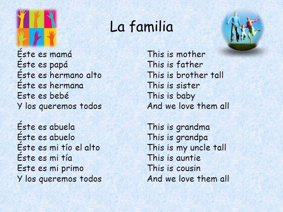 La familia Éste es mamá Éste es papá Éste es hermano alto