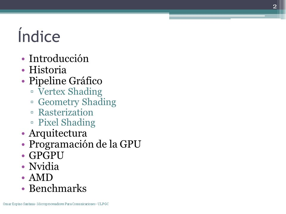 Índice Introducción Historia Pipeline Gráfico Arquitectura