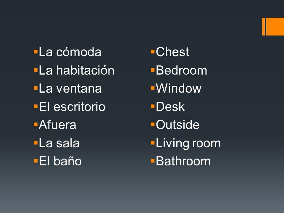 La cómoda La habitación. La ventana. El escritorio. Afuera. La sala. El baño. Chest. Bedroom.