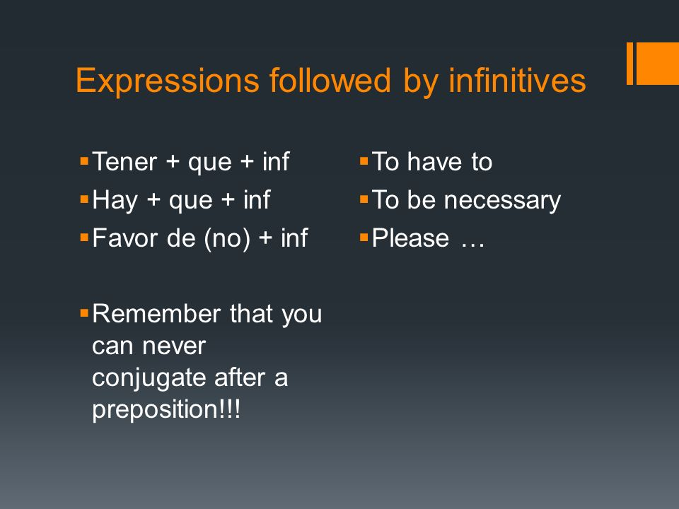 Expressions followed by infinitives